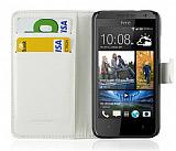 HTC Desire 300 Cüzdanlı Yan Kapaklı Beyaz Kılıf