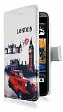 HTC Desire 300 London C�zdanl� Yan Kapakl� K�l�f