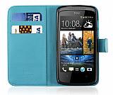 HTC Desire 500 C�zdanl� Mavi K�l�f