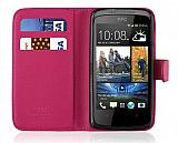 HTC Desire 500 C�zdanl� Pembe K�l�f