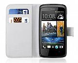 HTC Desire 500 C�zdanl� Beyaz K�l�f
