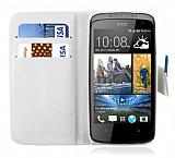 HTC Desire 500 C�zdanl� Standl� Beyaz Deri K�l�f