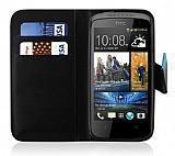 HTC Desire 500 Cüzdanlı Standlı Siyah Deri Kılıf