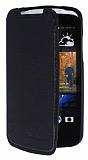 HTC Desire 500 Gizli M�knat�s Standl� C�zdanl� Siyah Deri K�l�f