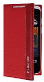 Eiroo HTC Desire 500 Gizli M�knat�sl� �nce Yan Kapakl� K�rm�z� Deri K�l�f
