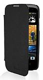 HTC Desire 500 �nce Yan Kapakl� Siyah K�l�f