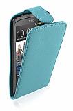 HTC Desire 500 Dik Kapakl� Mavi Deri K�l�f