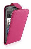 HTC Desire 500 Dik Kapakl� Pembe Deri K�l�f