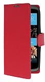 HTC Desire 526 Cüzdanlı Yan Kapaklı Kırmızı Deri Kılıf
