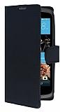 HTC Desire 526 Cüzdanlı Yan Kapaklı Siyah Deri Kılıf