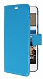 HTC Desire 728G Cüzdanlı Yan Kapaklı Mavi Deri Kılıf