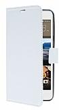 HTC Desire 728G Cüzdanlı Yan Kapaklı Beyaz Deri Kılıf