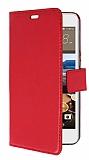 HTC Desire 728G Cüzdanlı Yan Kapaklı Kırmızı Deri Kılıf