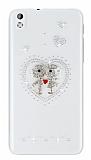 HTC Desire 816 Love Taşlı Şeffaf Rubber Kılıf