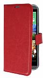 HTC Desire 820 Standlı Cüzdanlı Kırmızı Deri Kılıf