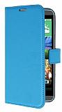 HTC Desire 820 Standlı Cüzdanlı Mavi Deri Kılıf