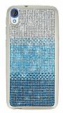 HTC Desire 820 Taşlı Geçişli Mavi Silikon Kılıf
