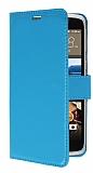 HTC Desire 828 Cüzdanlı Yan Kapaklı Mavi Deri Kılıf