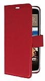 HTC Desire 828 Cüzdanlı Yan Kapaklı Kırmızı Deri Kılıf