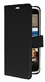 HTC Desire 828 Cüzdanlı Yan Kapaklı Siyah Deri Kılıf