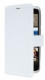 HTC Desire 828 Cüzdanlı Yan Kapaklı Beyaz Deri Kılıf