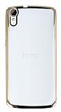 HTC Desire 828 Gold Kenarlı Şeffaf Rubber Kılıf