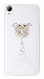 HTC Desire 828 Taşlı Kelebek Şeffaf Rubber Kılıf