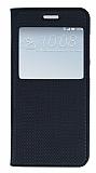 HTC One A9 Pencereli İnce Kapaklı Siyah Kılıf