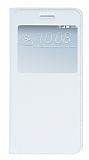HTC One A9 Pencereli İnce Kapaklı Beyaz Kılıf
