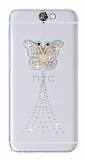 HTC One A9 Taşlı Kelebek Şeffaf Silikon Kılıf