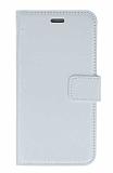 HTC One M8 Cüzdanlı Kapaklı Beyaz Deri Kılıf