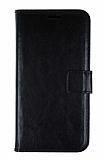 HTC One M8 Cüzdanlı Kapaklı Siyah Deri Kılıf