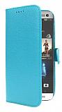 HTC One M8 Cüzdanlı Yan Kapaklı Mavi Deri Kılıf