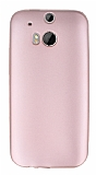 HTC One M8 Mat Rose Gold Silikon Kılıf