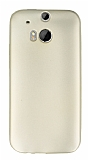 HTC One M8 Mat Gold Silikon Kılıf