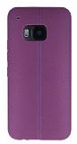 HTC One M9 Deri Desenli Ultra İnce Mor Silikon Kılıf