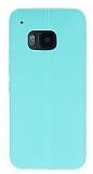 HTC One M9 Deri Desenli Ultra İnce Yeşil Silikon Kılıf