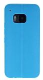 HTC One M9 Deri Desenli Ultra İnce Mavi Silikon Kılıf