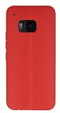 HTC One M9 Deri Desenli Ultra İnce Kırmızı Silikon Kılıf