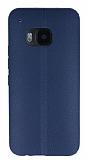 HTC One M9 Deri Desenli Ultra İnce Lacivert Silikon Kılıf