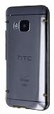 HTC One M9 Gold Silikon Kenarl� �effaf Rubber K�l�f