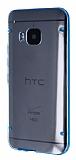 HTC One M9 Mavi Silikon Kenarl� �effaf Rubber K�l�f