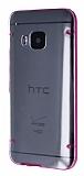 HTC One M9 Pembe Silikon Kenarl� �effaf Rubber K�l�f