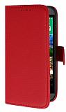 HTC One mini 2 Cüzdanlı Yan Kapaklı Kırmızı Deri Kılıf
