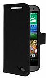 Eiroo HTC One mini 2 Standl� C�zdanl� Siyah Deri K�l�f