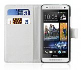 HTC One Mini C�zdanl� Beyaz K�l�f
