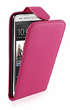 HTC One Mini Dik Kapakl� Pembe Deri K�l�f