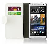 HTC One Mini Standlı Cüzdanlı Beyaz Deri Kılıf