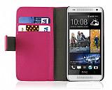 HTC One Mini Standl� C�zdanl� Pembe Deri K�l�f