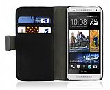 HTC One Mini Standl� C�zdanl� Siyah Deri K�l�f